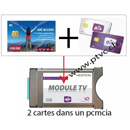 PCMCIA Viaccess Secure llest, per a la targeta d'accés suís i dual BIS READY cardless