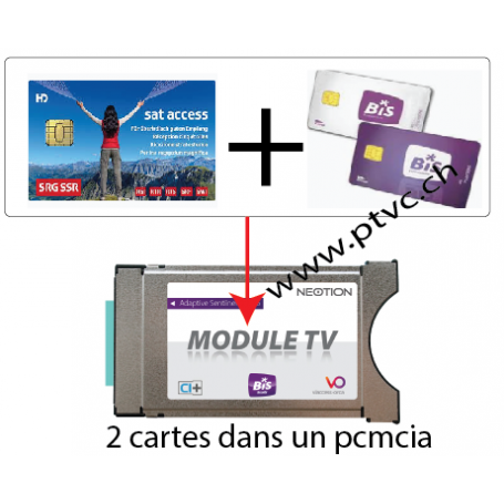 Pcmcia Viaccess secure ready, pour carte Suisse sataccess et Dual BIS READY Cardless